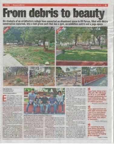 News Report in Bangalore Mirror 28/02/2018